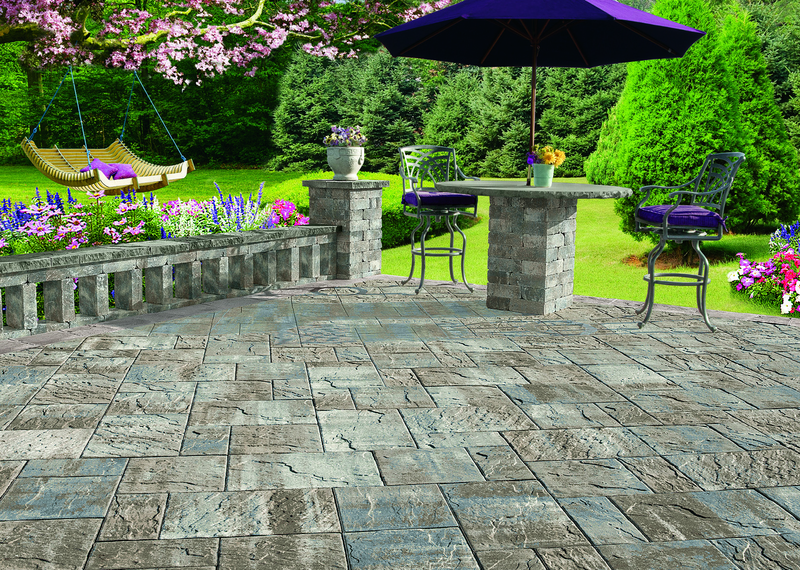Cambridge pavingstones wall systems color options - Create A Patio The Whole Family Will Enjoy This Patio Features Cambridge S Sherwood Collection Pavingstones