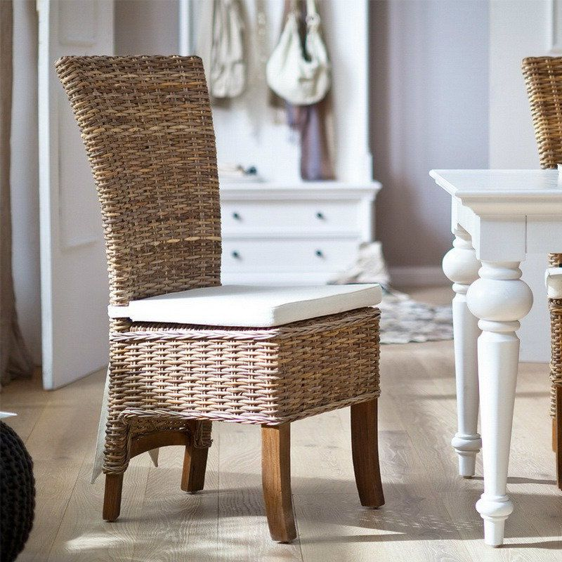 Shore Coastal Wicker Dining Chair With Cushion Wicker Dining