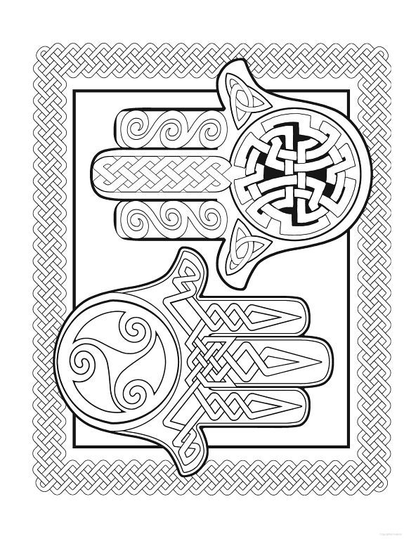 Hamsa Hand Adult Coloring Pages Stone Painting Embroidery Patterns Pagan Book Art Dover Publications Tapestries