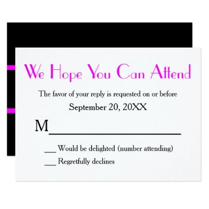 Monogram Pink Black Rsvp Version  Card  Invitations Personalize