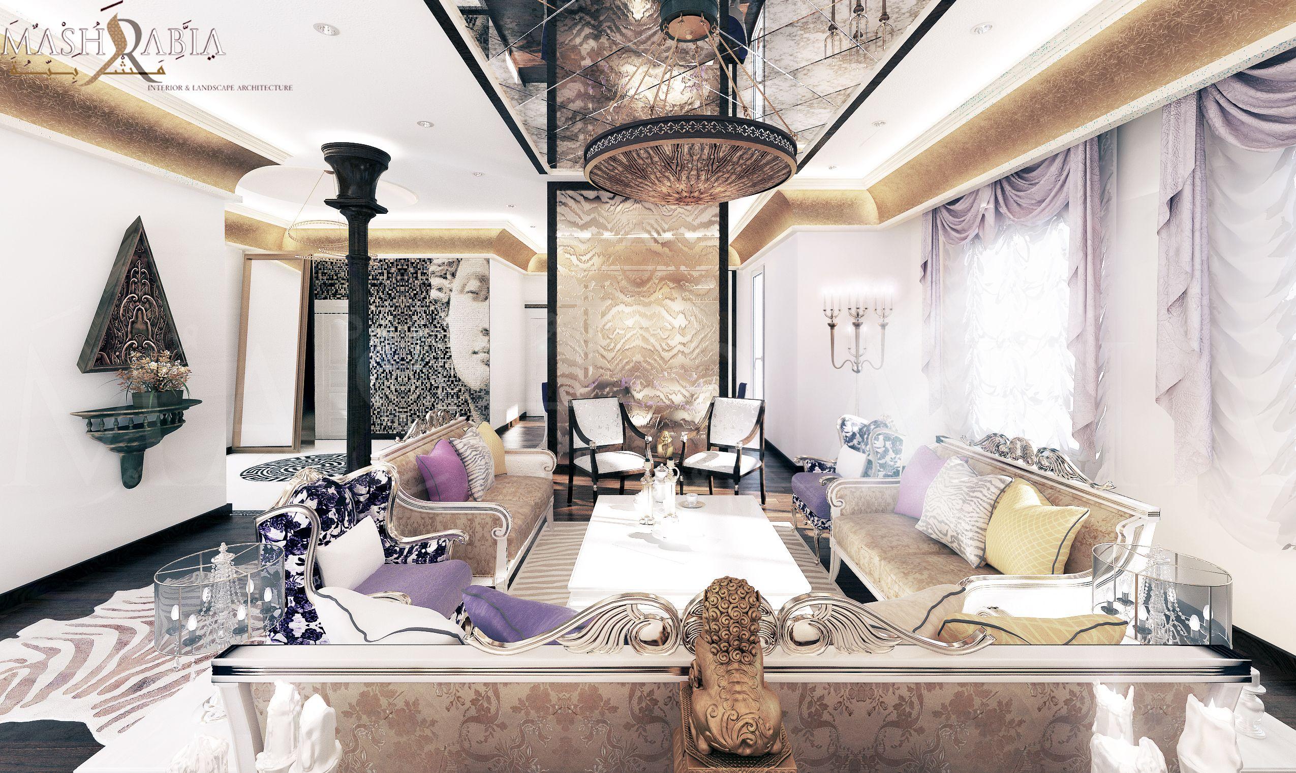 #Magnificent_Family_Lounge #Seating #simple #Classic_design #classic_furniture #cold_colors #Cavalli_Tiger #Golden_Cornice #back_view @mashrabiadesign