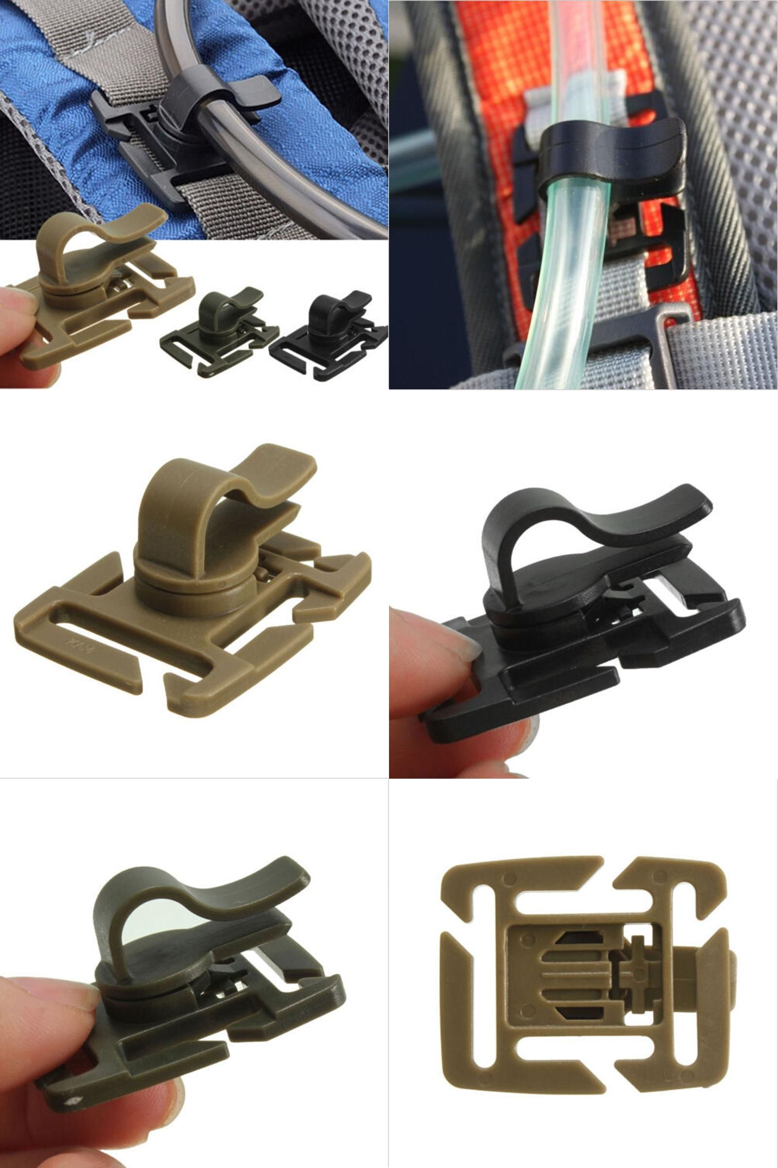 Drink Tube Clip Rotatable Molle Water Bag Drink Tube Webbing Trap Hose Clip B9D7
