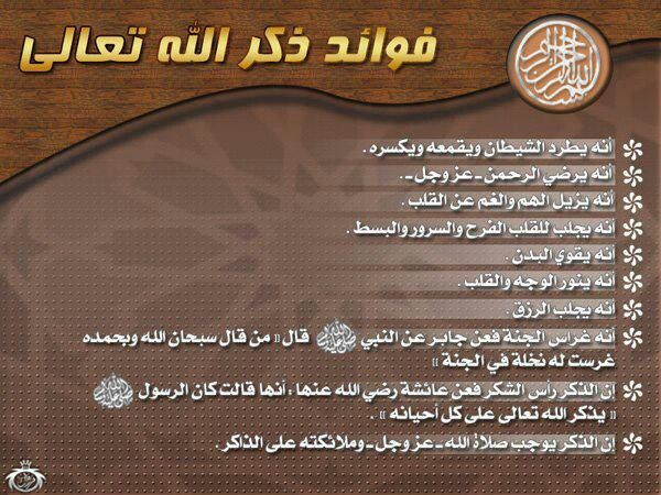 فوائد ذكر الله تعالى Words Of Wisdom Arabic Words Wisdom