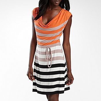 ad43bec195 Striped Knit dress with tied waist