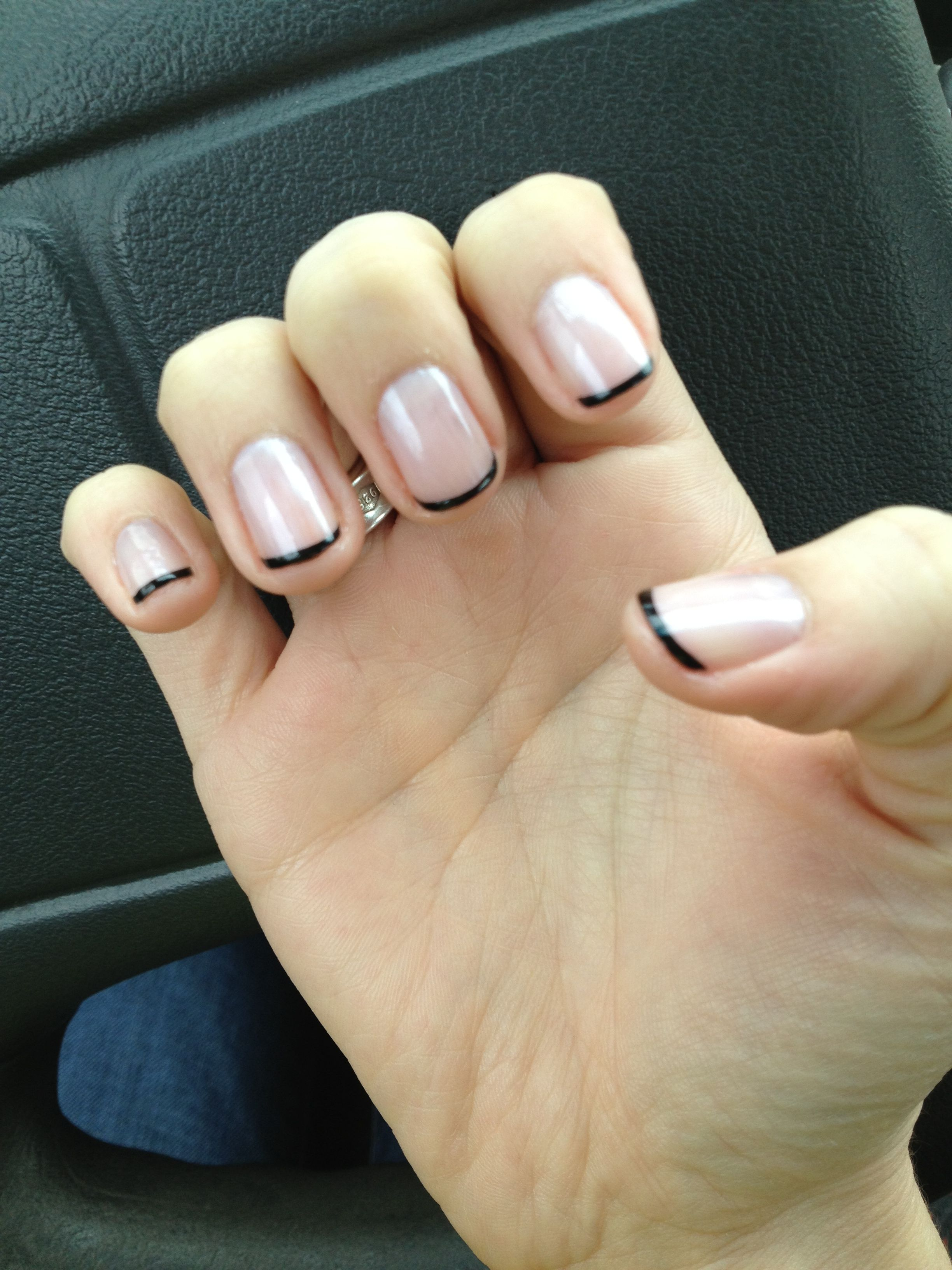 Black Tip French Manicure With Images Manicure French