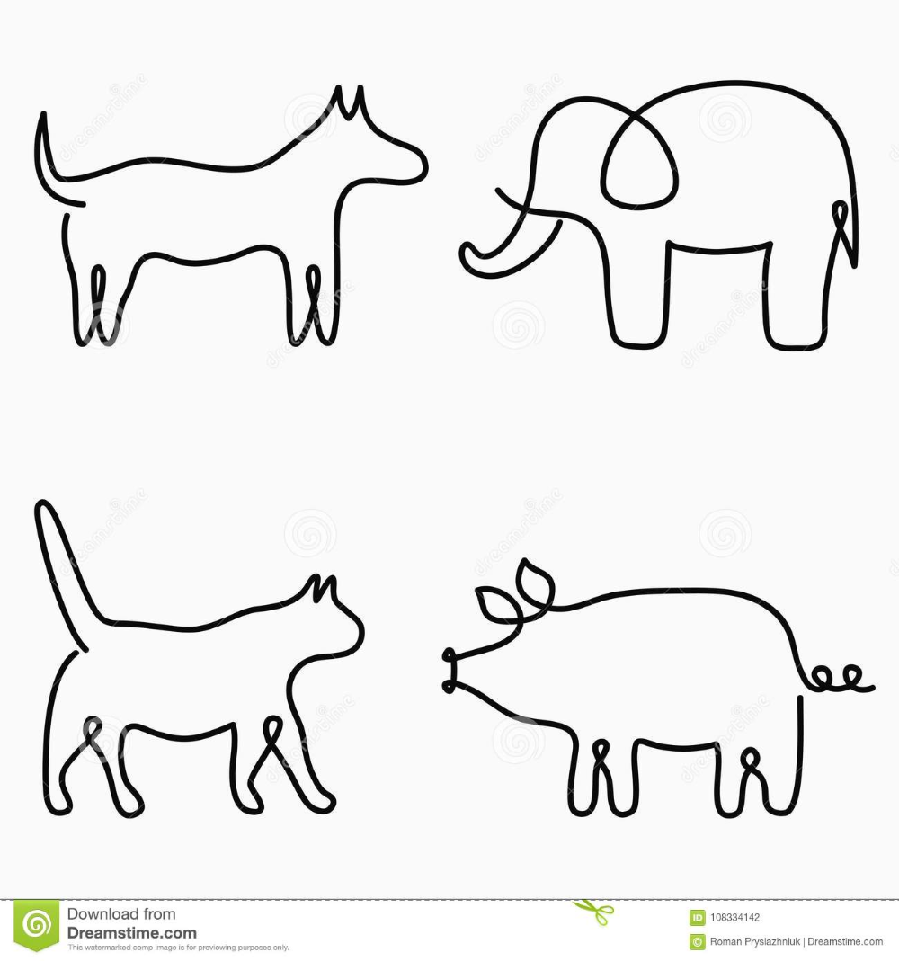 Animals one line drawing. Continuous line print cat, dog