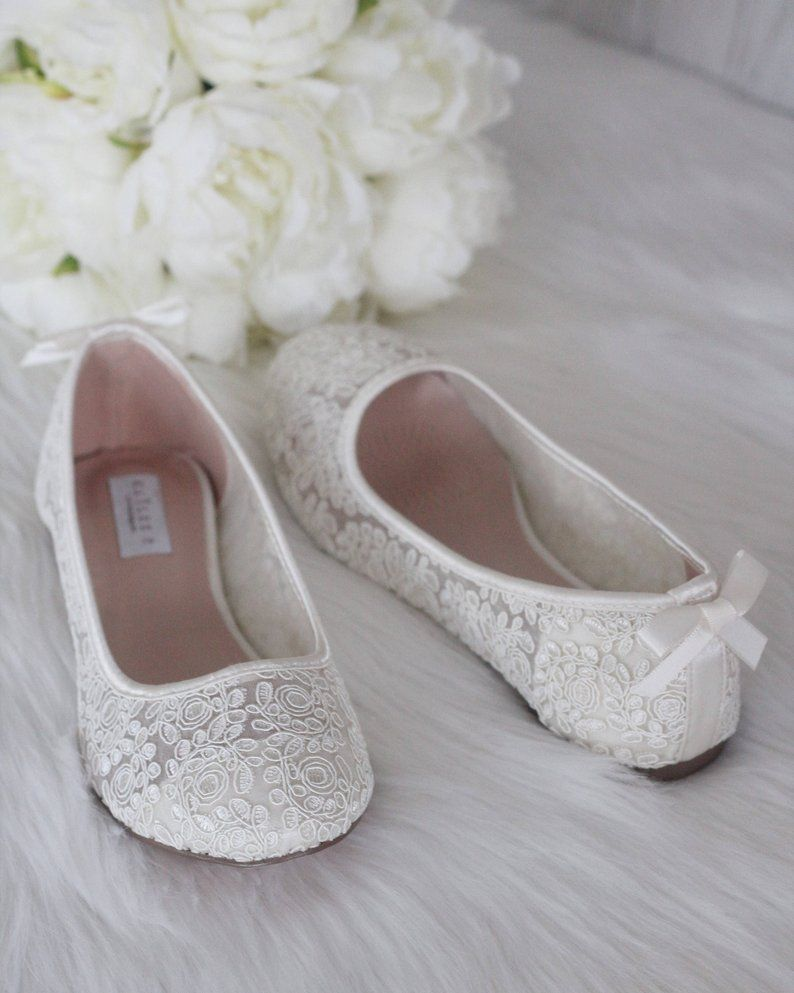 Ivory Crochet Lace Flats With Dainty Bow On The Back Bridal