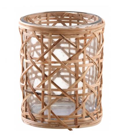 AubryGaspard Lanterne en Bambou et Bois Naturel