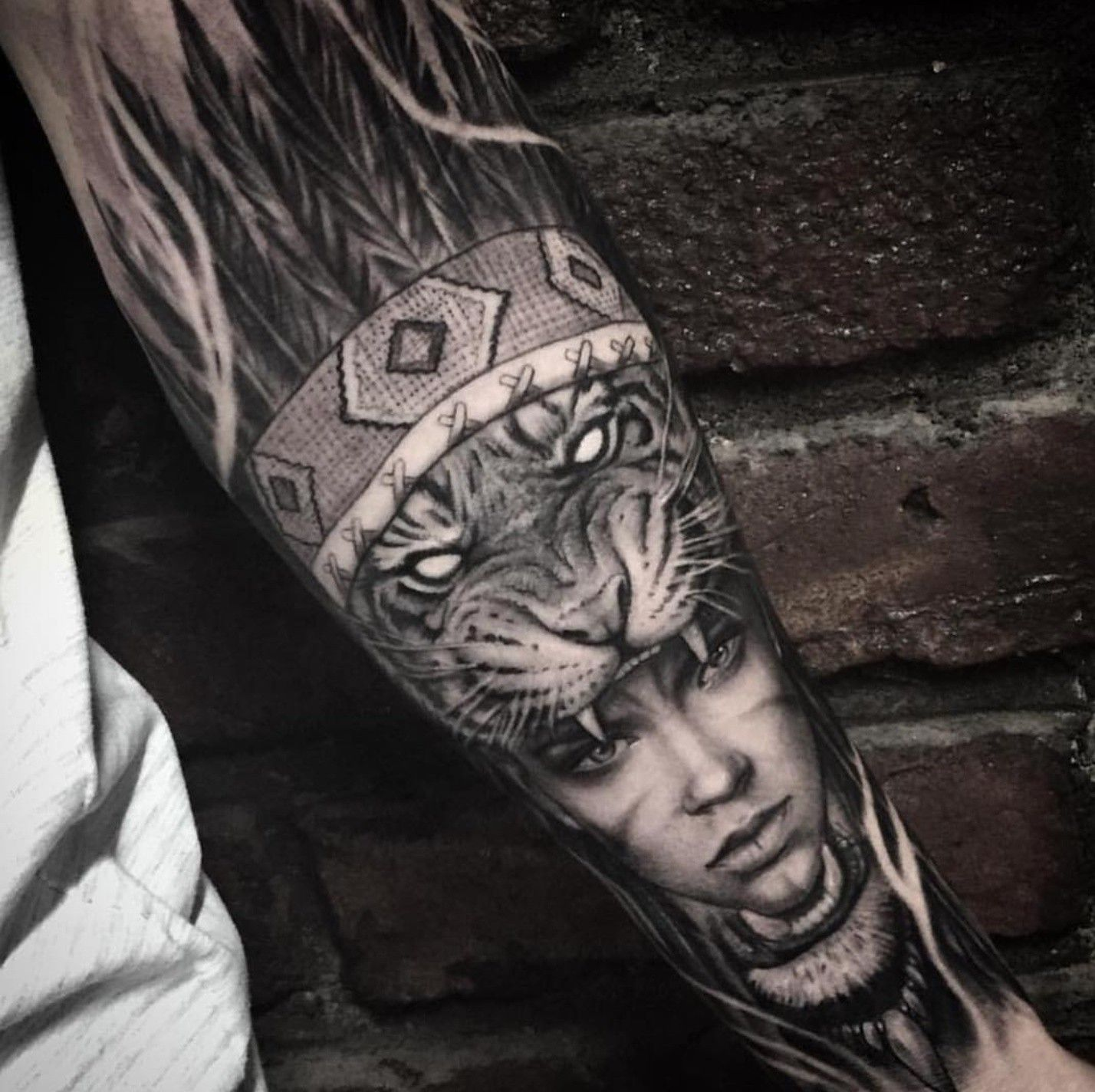 6fa748f350725 Tiger headdress tattoo | Tattoo ideas | Headdress tattoo, Sleeve ...