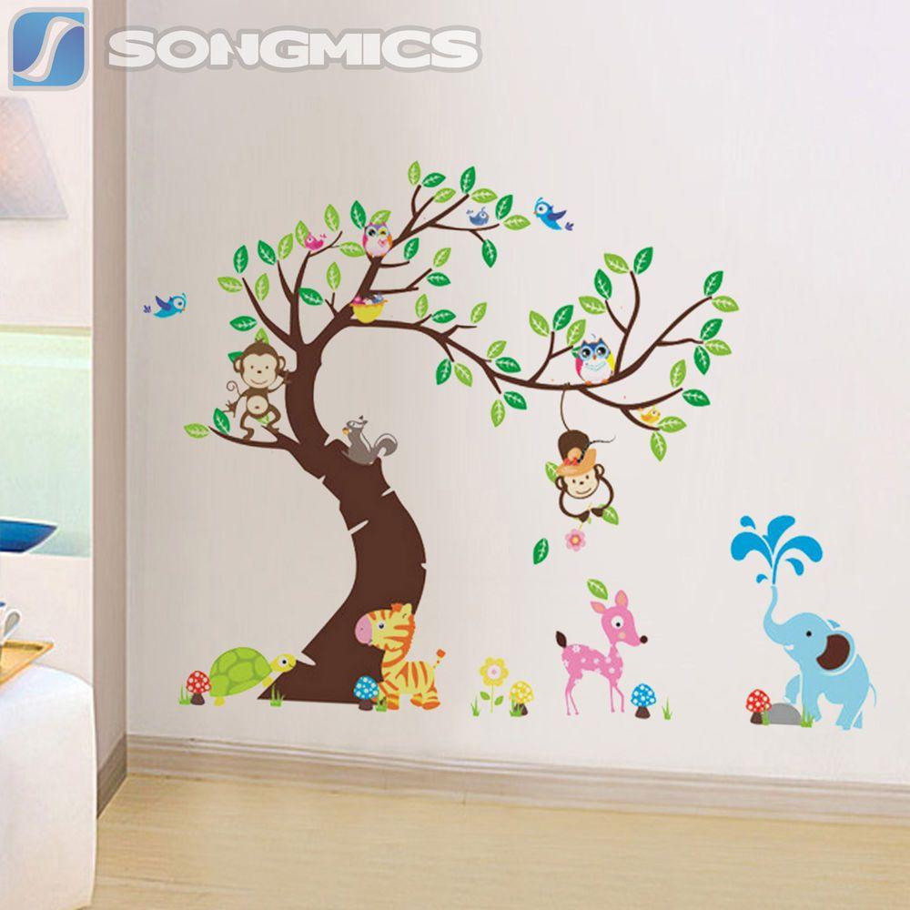 Wandtattoo Wald Tiere Baum Affe Eule Kinderzimmer Wandsticker