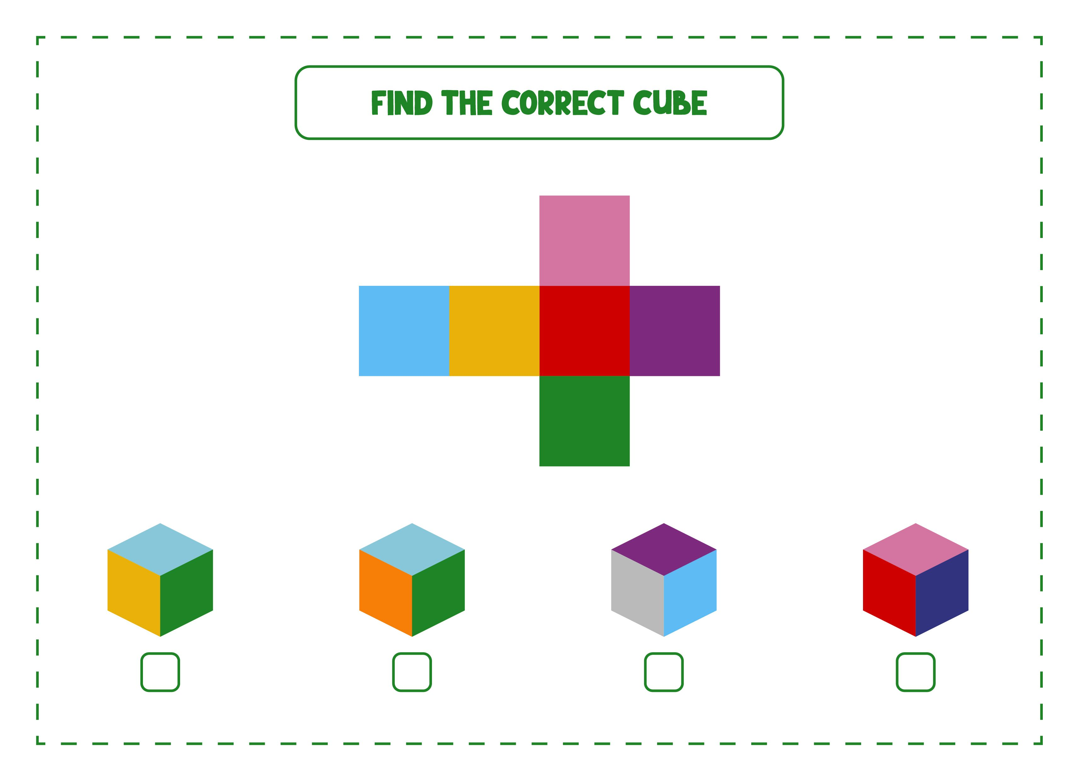 Find The Correct Cube Game Printable Worksheet