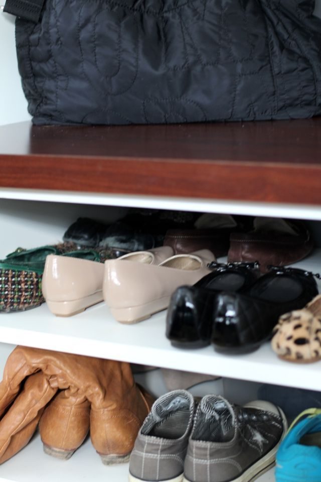 Keep shoes organized by storing them near jackets and bags