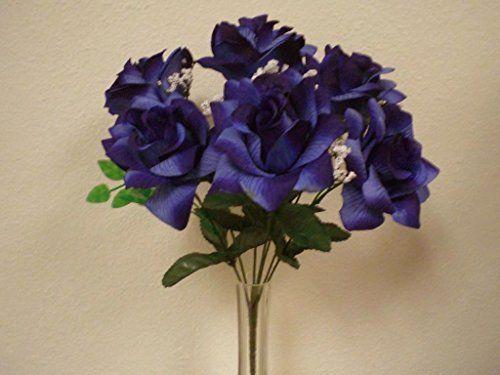 2 bushes navy blue open rose artificial silk flower bouquet 1 x 7 2 bushes navy blue open rose artificial silk flower bouquet 1 x 7 039nbl phoenix silk mightylinksfo