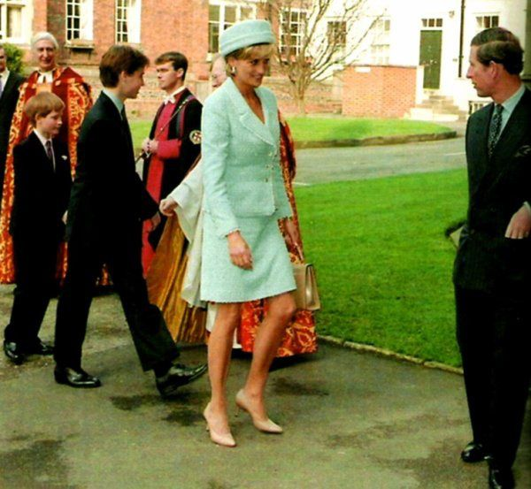 HRH Prince and Princess of Wales at Prince William's Confirmation and Prince Harry  on 9 March 1997