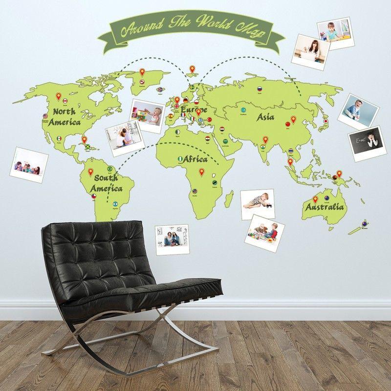 Muursticker wereldkaart met fotolijsten kinderkamer van Stickerkamer - fresh interactive world map desktop background