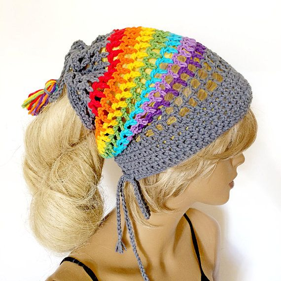 Dreadlocks hat Crochet tam Hippie multicolor striped scarf Crochet ...