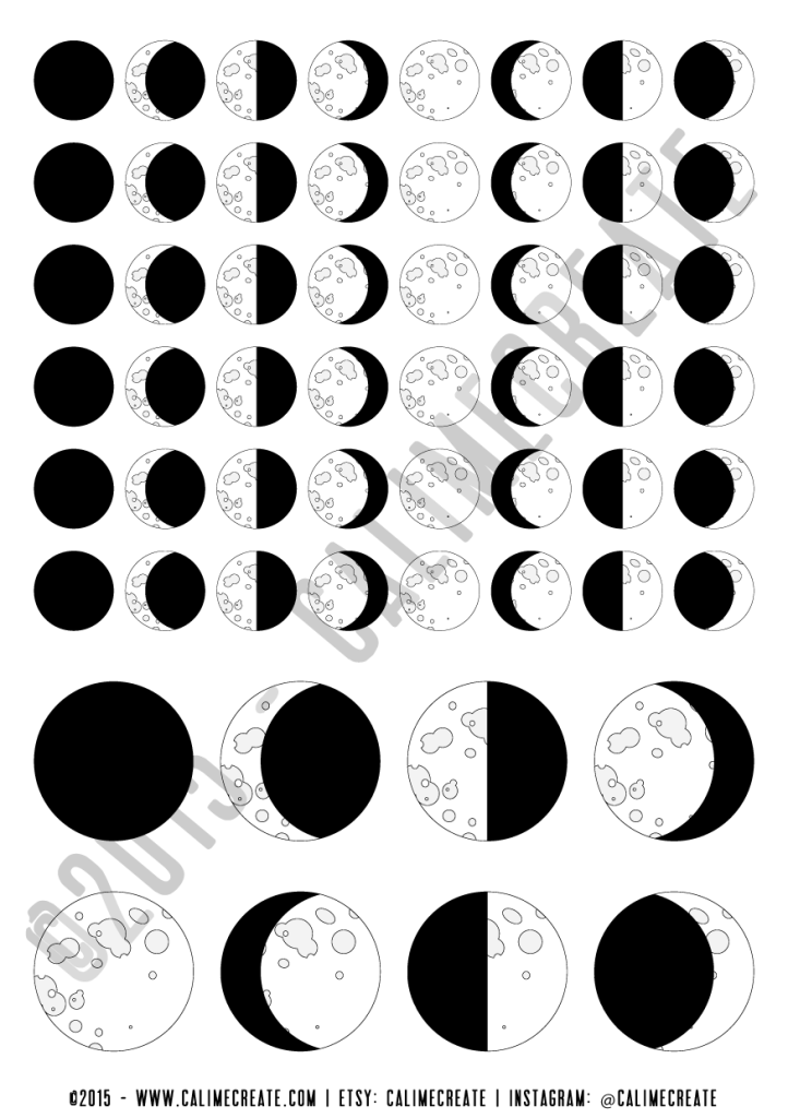 photo relating to Printable Moon Phases titled Calime Build - Sticker Freebie - Moon Levels-01 Dwelling