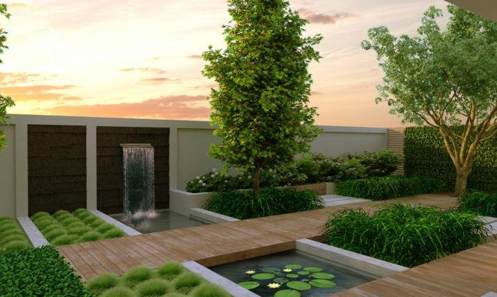 gartendesign rechteckiger gartenteich lotus wasserfall Garten - wasserfall im garten modern