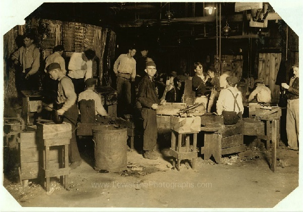 Night Scene In Cumberland Glass Works Bridgeton N J Date 1909