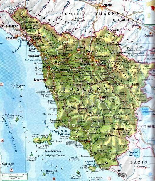 Fiumi Toscana Cartina.Italia Fisica Toscana Toscana Geografia