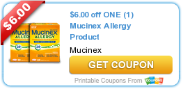 picture about Mucinex Printable Coupon identified as $6.00 off A single (1) Mucinex Allergy Product or service Discount coupons Cereal