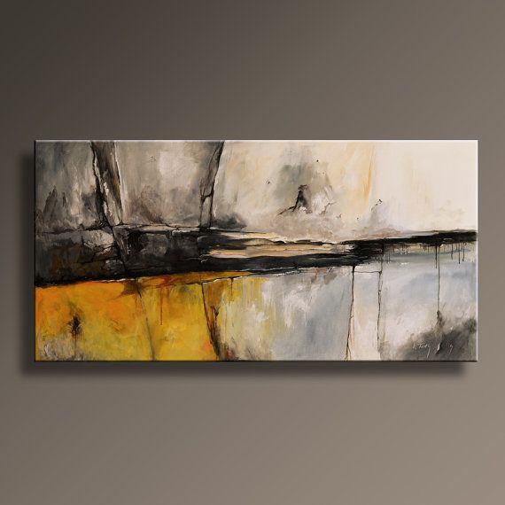 48 gro e original abstrakt gelb grau malerei auf leinwand. Black Bedroom Furniture Sets. Home Design Ideas