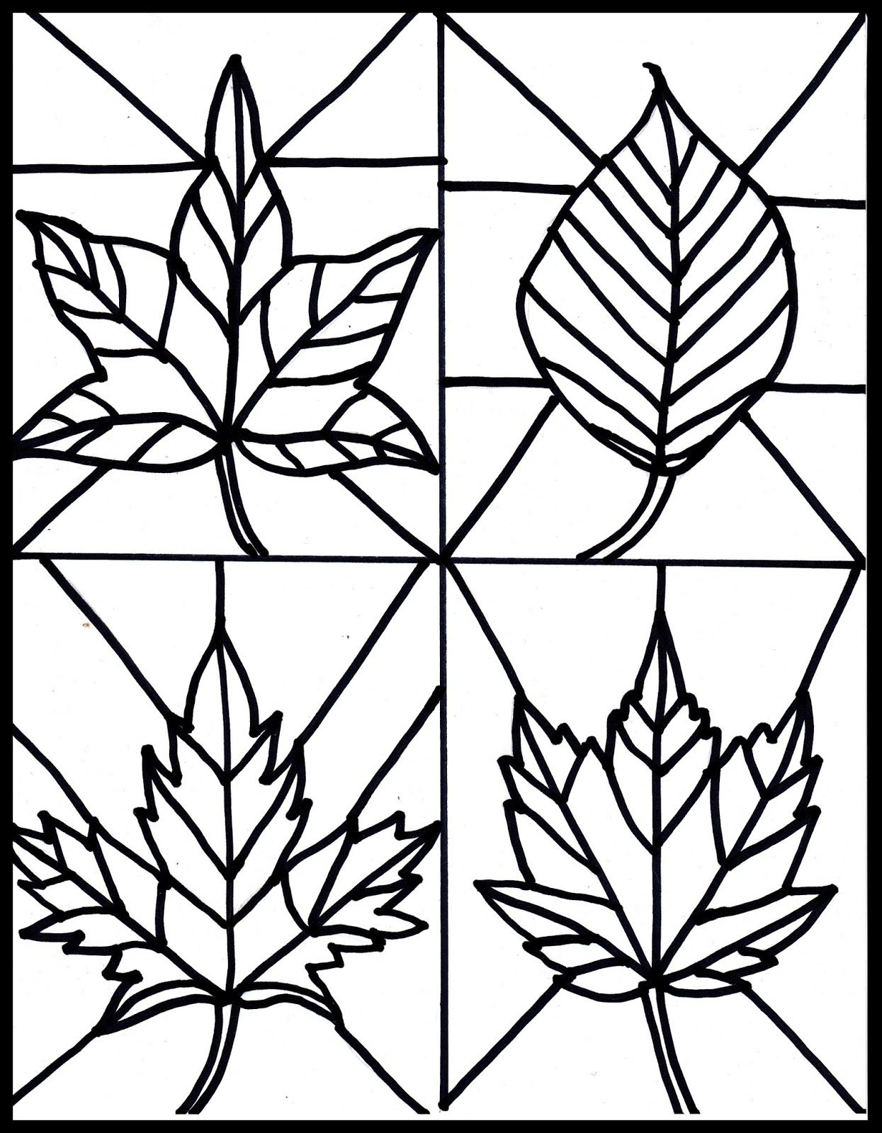Free Fall Leaves Stained Glass Printable