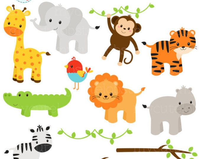 Wild Animal Faces Clipart Set - giraffe, crocodile, panda ...
