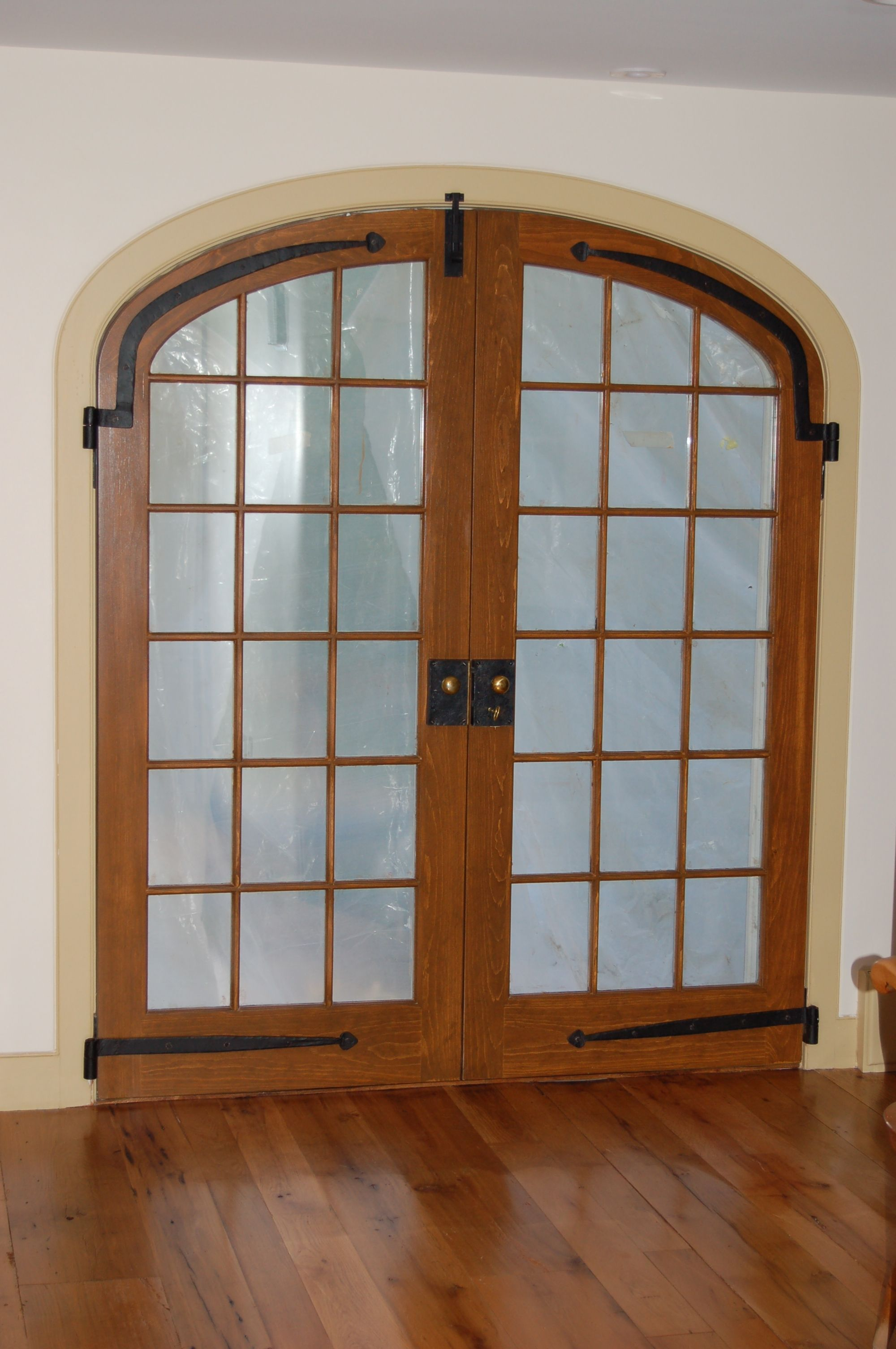 Elliptical Double Arch Top Exterior Door Unit Double Pane Insulated Glass Simulated Mullions Wood French Doors French Doors Exterior Custom French Doors