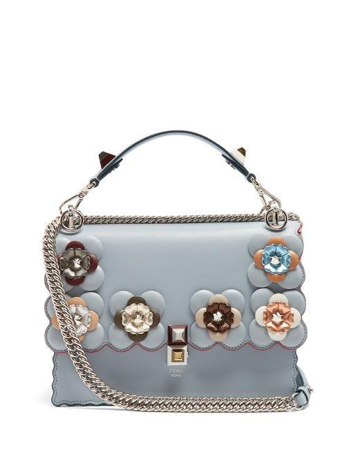 Fendi Kan I flower-embellished leather shoulder bag   Handbags in ... 5ffcf681e5