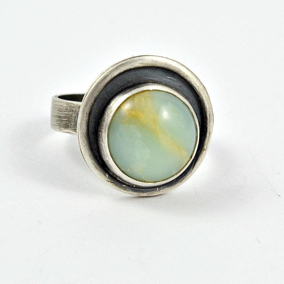 Round Chrysoprase Ring, Dark Silver Ring, Modern Jewelry, Contemporary Ring, Gift for Her, Gift for Women, Green Stone Ring, Statement Ring by GemspellJewellery on Etsy