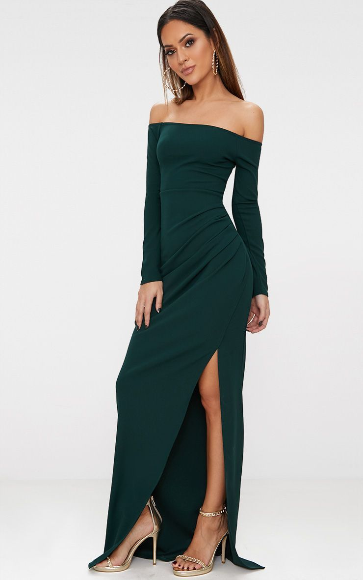 4d90f8f1d0d Emerald Green Wrap Over Long Sleeve Bardot Maxi Dress in 2019 ...