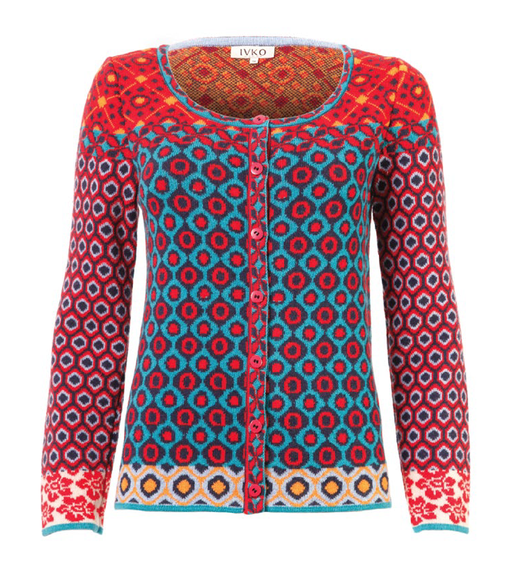 Ivko style 52522 Red & Teal This Cardigan is made from Ivko\'s soft ...