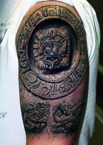 2f39c28615dcc Pretty realistic Aztec Sun stone tattoo design. | tattoos | Tattoos ...