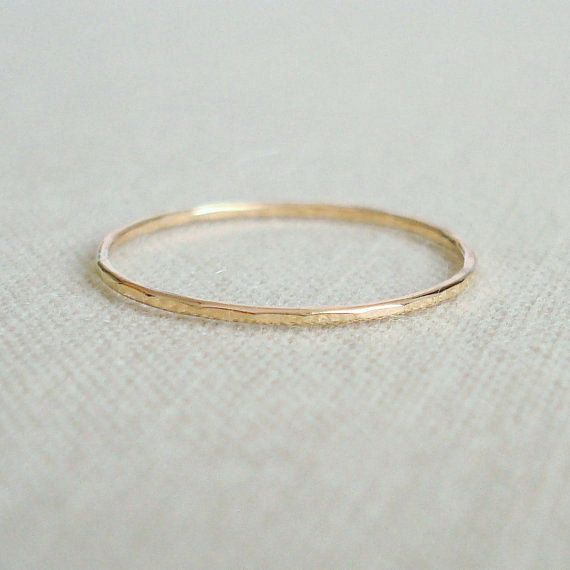 Thread of Gold - Rose or Yellow 14k Gold Filled Ring - Wavy or ...