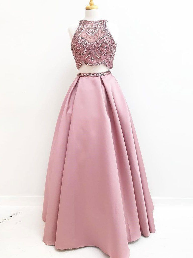halter high neck beaded top dusty rose two piece prom