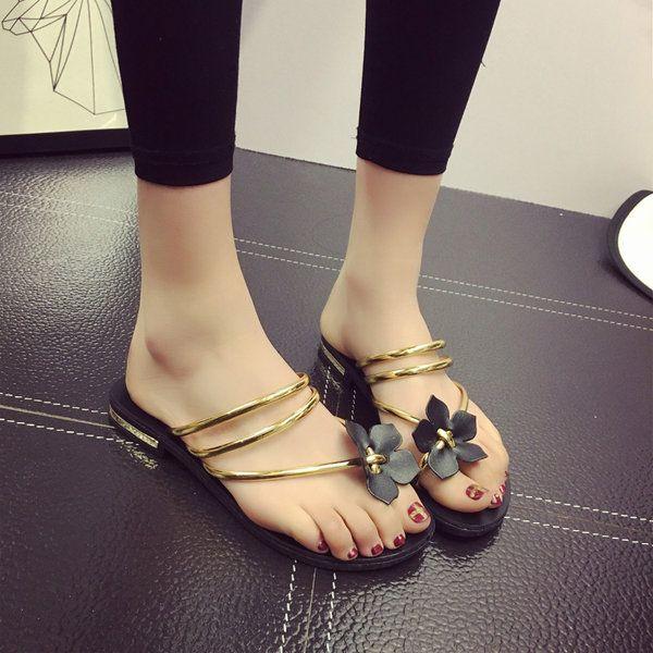 Bohemia Flower Clip Toe Two Way Wearing Slip On Flat Flip Flops Gladiator Sandal…