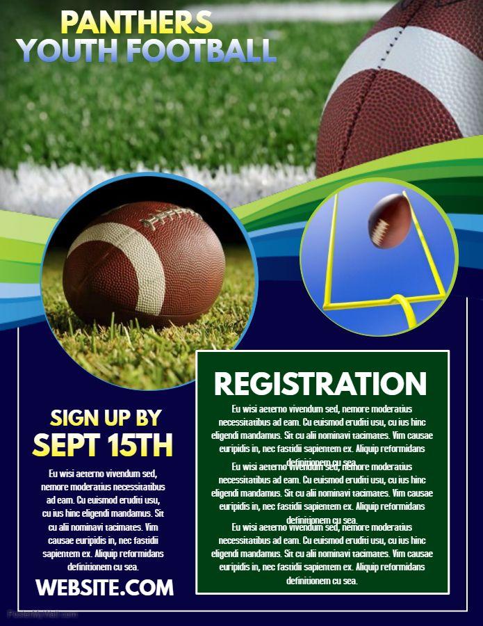 Football Registration Poster Flyer Social Media Post Template