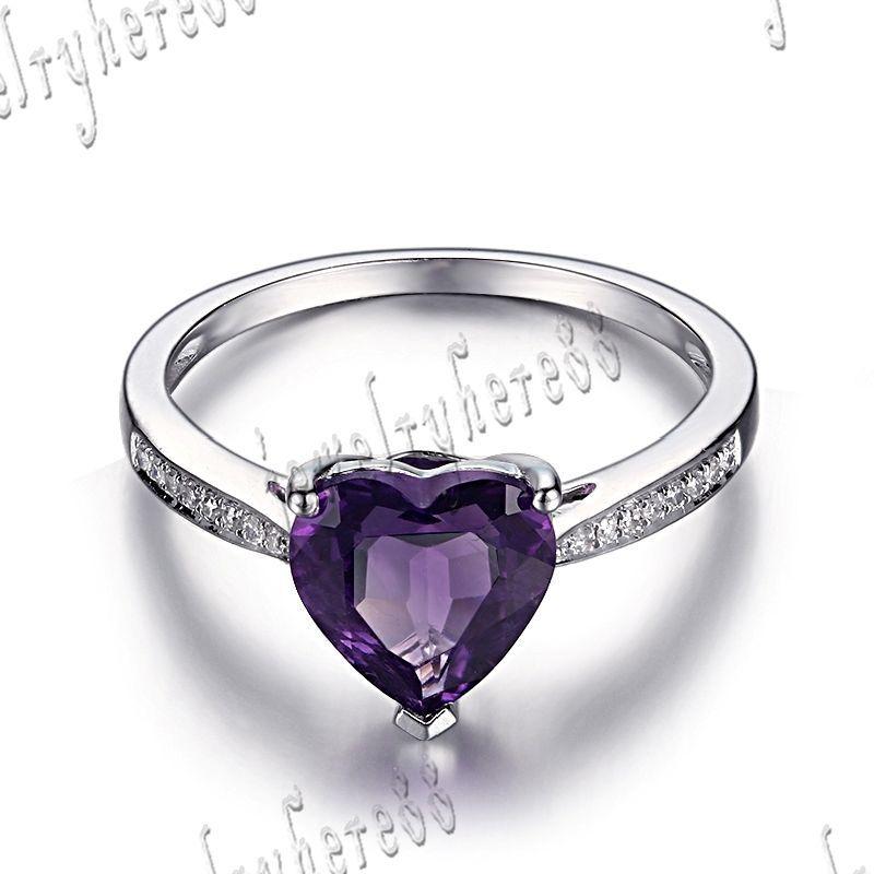 5fb6d8ea2a3c Elegante forma de corazón 8mm Amatista Diamantes de compromiso precioso anillo  10K Oro Blanco in Joyería y relojes