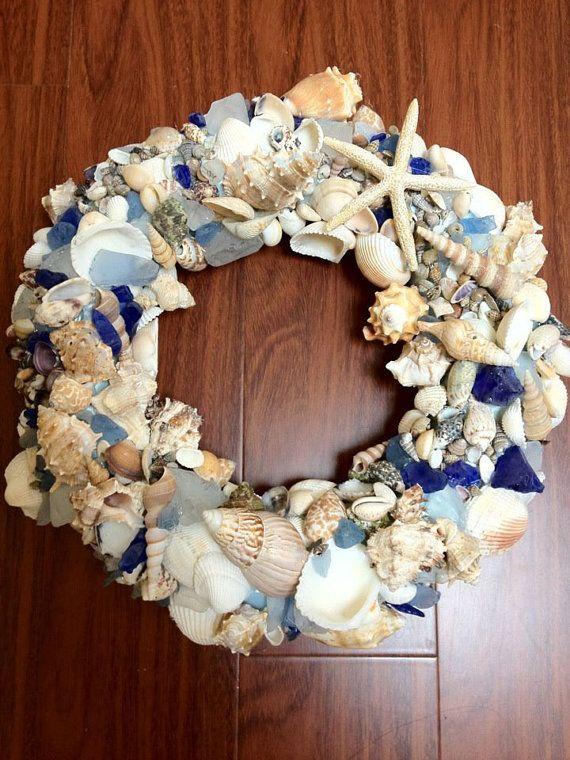 Coastal beach wreath with blue sea glass beautiful sea for Seashell wreath craft ideas