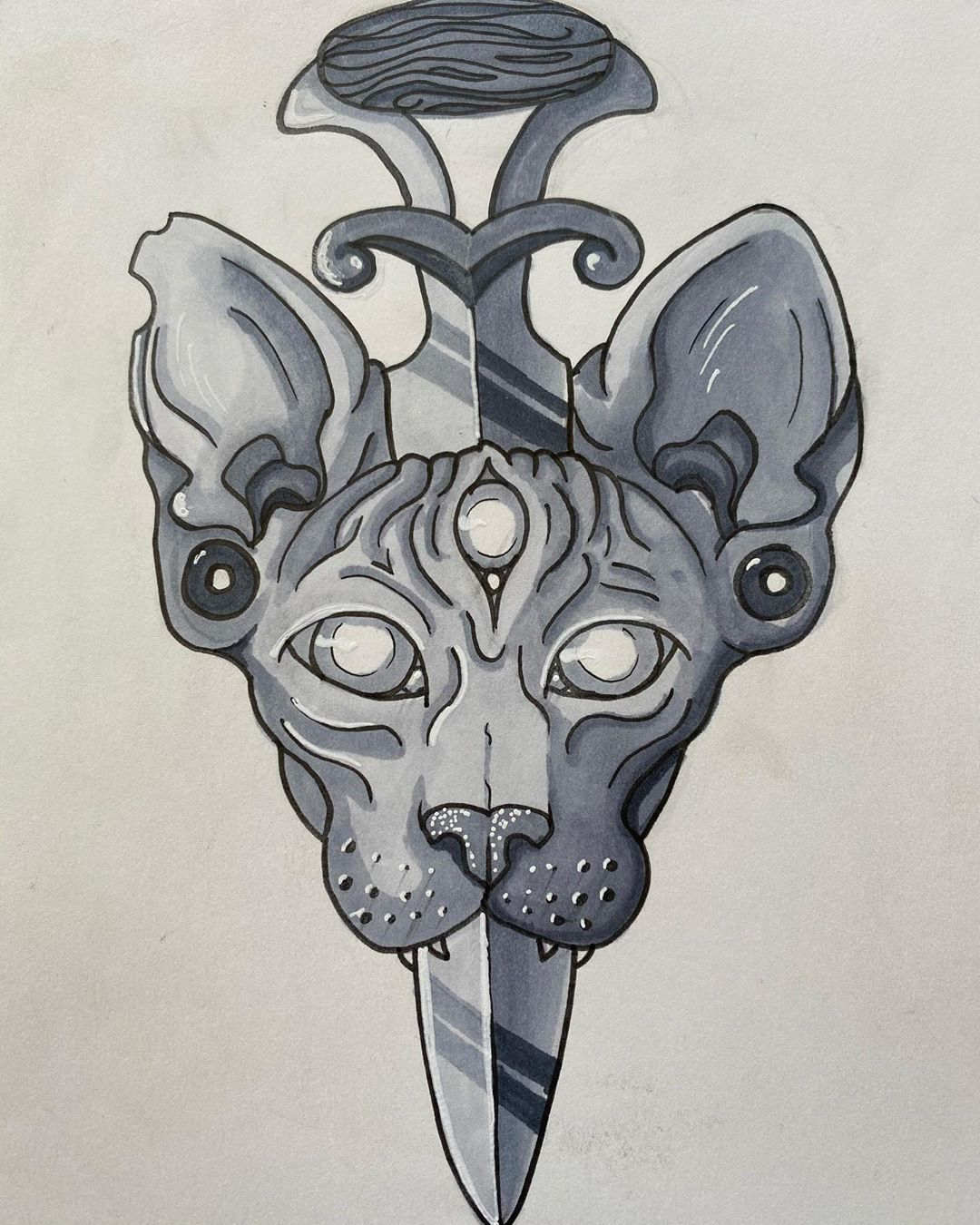 Awaken your third eye and bring some magic into your life. Cats are definitely magical and a three eyed cat 3 times the magic! . . . #art #artist# #artwork #pen #markers #artmaker #maker #handdrawn #tattoo #tattoodesign #illustration #blackandwhite #blackandgrey #cat #sphynxcat #magic #magical