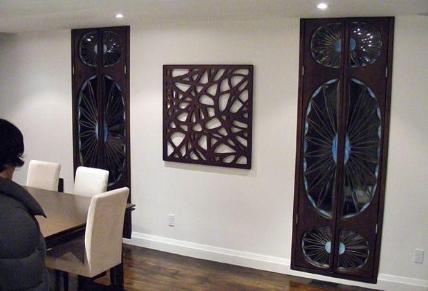 Wood panel wall art decorative mirror wood interior design decor artsigns interiors