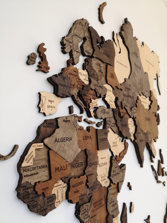 Wand Holz Karte der Weltkarte Reise Push Pin Karte rustikale Haus Holz Wandkunst 5. Jahrestagsgeschenk für Mann Freund Wand Kunst Dekor