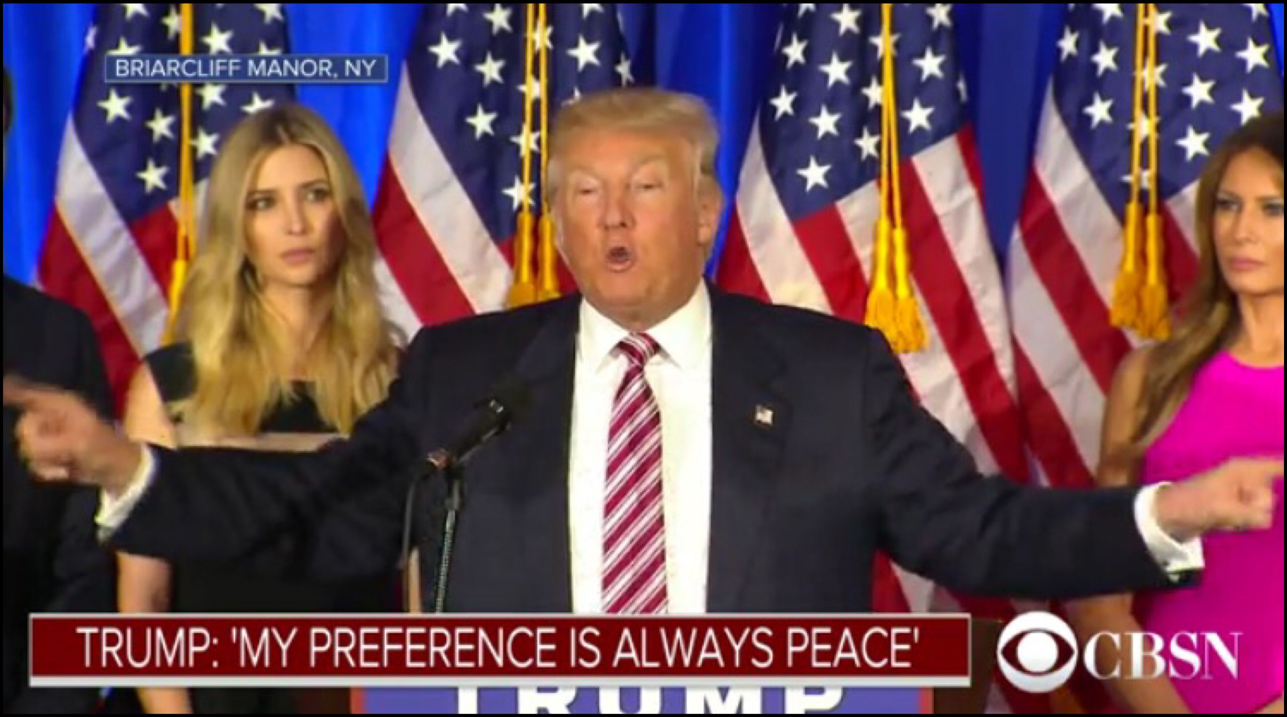 My preference is always peace . . . | Donald Trump addresses his supporters from Briarcliff Manor, NY on June 8, 2016