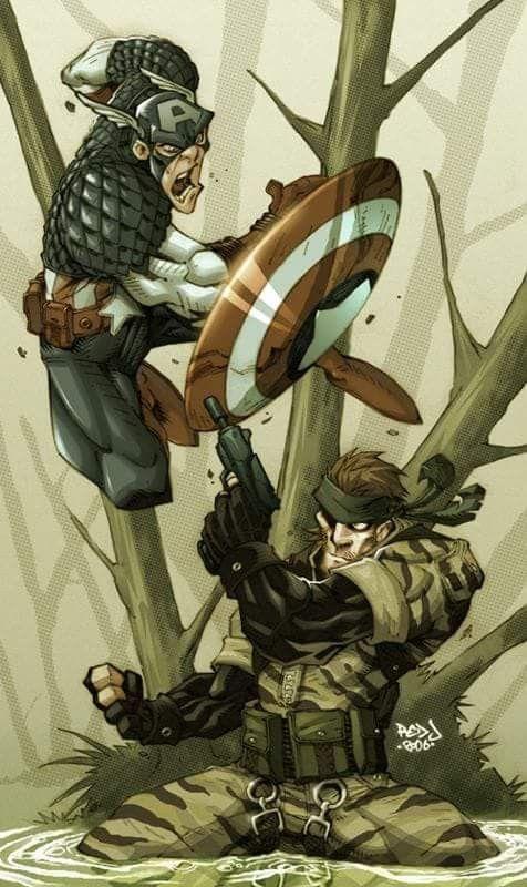 Naked Snake and Captain America by Kenre-Maru on DeviantArt