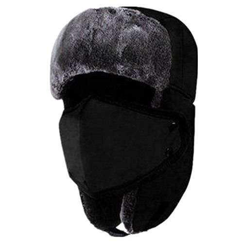 28bfc8595a978 Unisex Winter Ear Flap Hat Trooper Trapper Hunting Hat Ushanka With  Windproof Mask Black -- Click image to review more details.(It is Amazon  affiliate link) ...