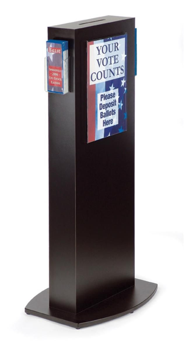 Ballot Box W Lock 11 X 17 Sign Holder Side Pocket Floorstanding Black Urna Mdf