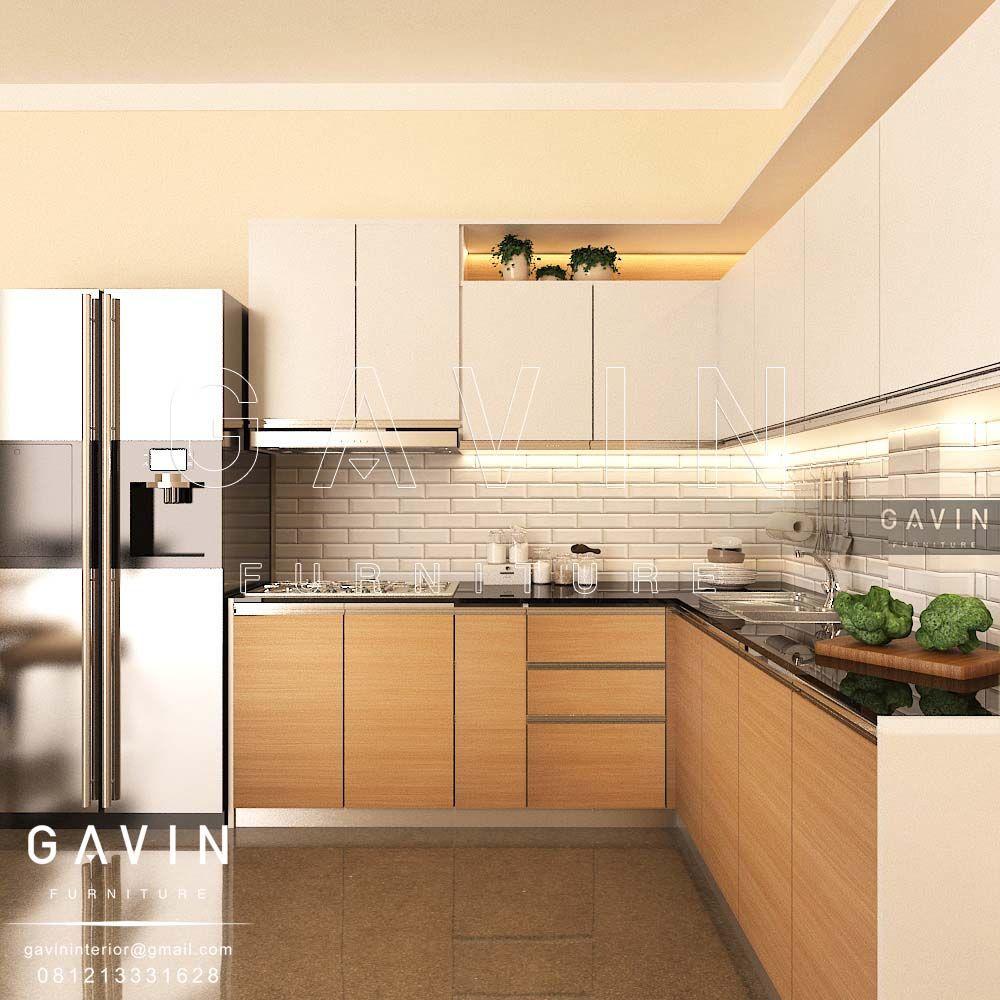 Model kitchen set minimalis bentuk letter l dibuat dengan menggunakan bahan dasar multiplek dengan finishing hpl