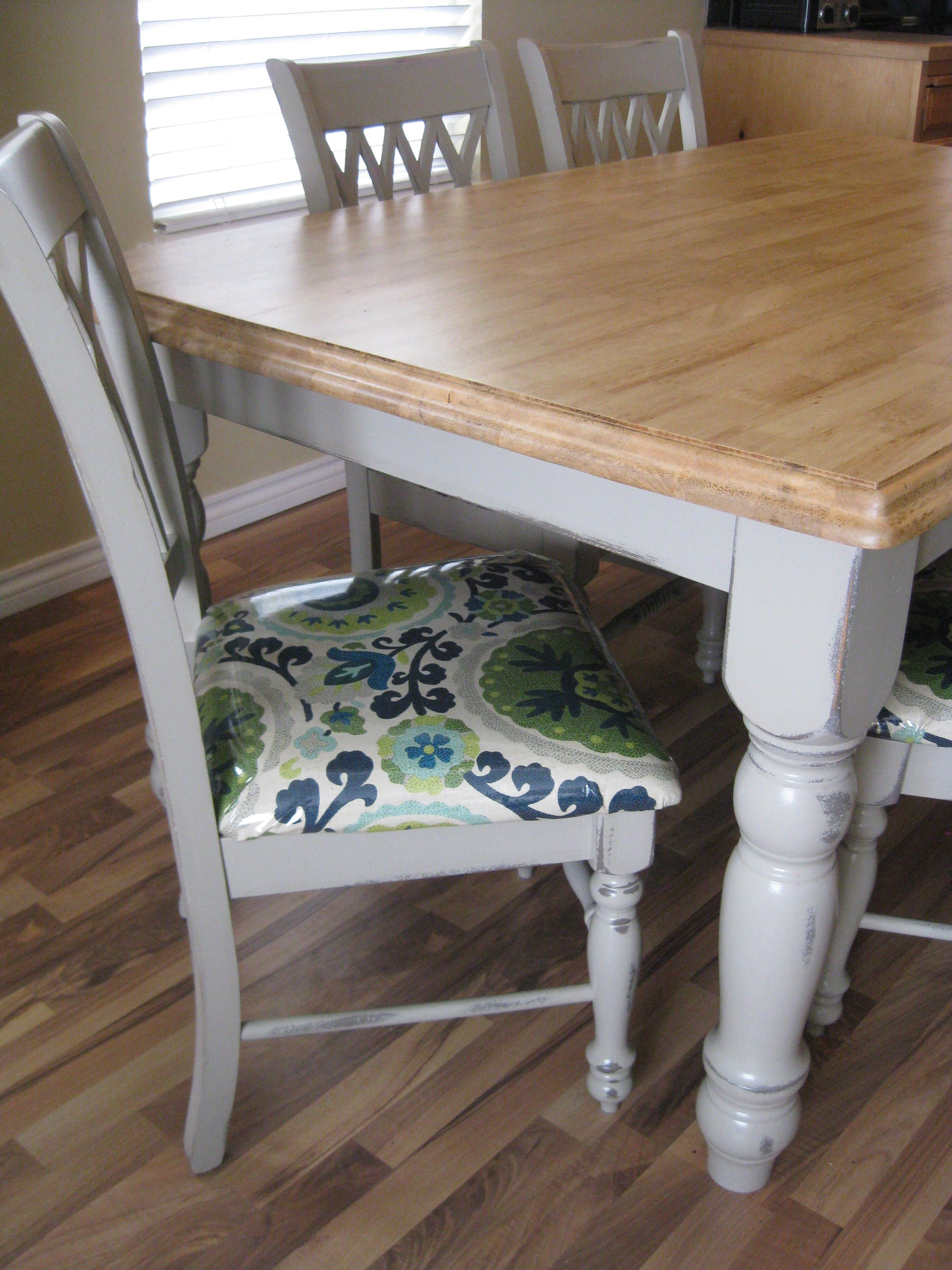 Recovering Dining Chairs Painted Grey Table With Stained