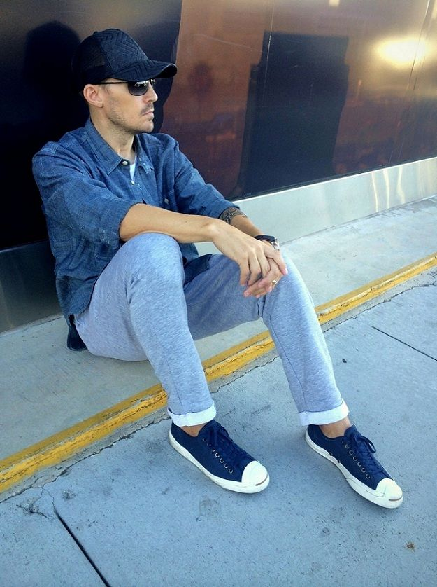 f412414db40f Navy Blue Converse Outfit Men Allthaticovet  la fashion blog